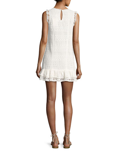 Lindell Mixed-Lace Sleeveless Dress