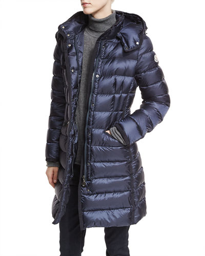 moncler womens side-zip long down coat black