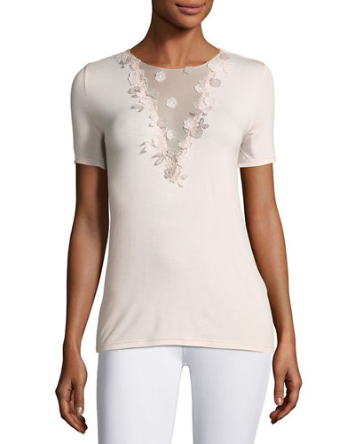 Brielle Tie-Back Floral Applique Knit Top