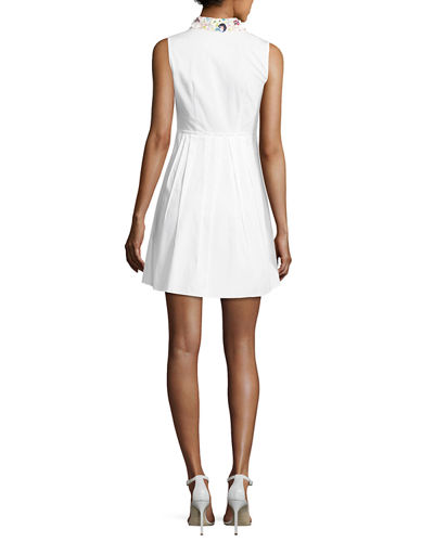 Samiyah Sleeveless Pleated Dress w/ Embellished Collar