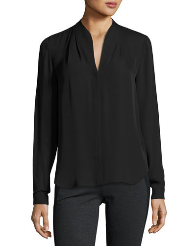 Elie Tahari Bea Long-Sleeve Button-Front Silk Blouse