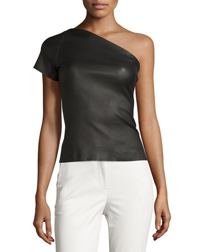 One-Shoulder Stretch Leather Top