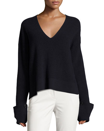 Ribbed Fluid V-Neck Pullover Sweater