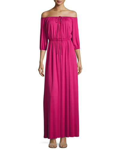 Lorenzia Off-the-Shoulder Maxi Drama Dress, Plus Size