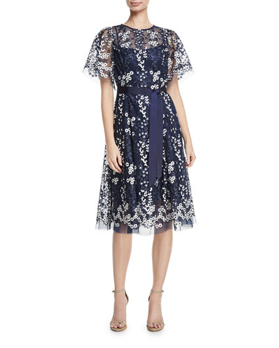 Floral Embroidered Tulle Midi Cocktail Dress, Black