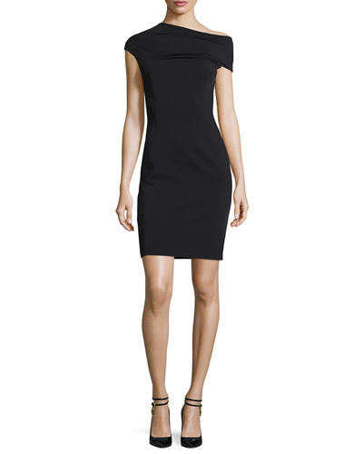 Asymmetric Ponte Sheath Dress