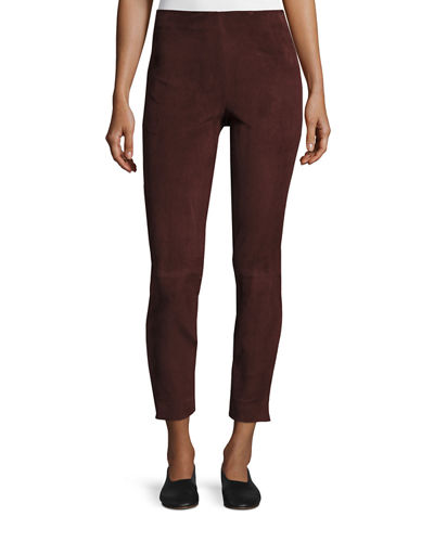 Stretch-Suede Cropped Pants