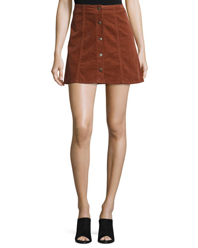 Tilda Snap-Front Corduroy Mini Skirt
