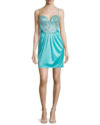 Short Rhinestone-Embellished Cocktail Dress, Aqua