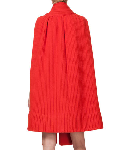 Ribbed Cashmere Knit Cape