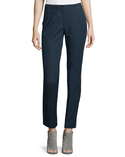 Stanton Ribbon-Trimmed Tapered Ankle Pants