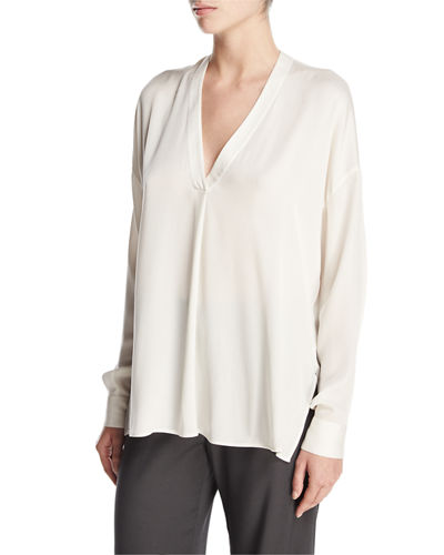 Crossover Long-Sleeve Stretch-Silk Top