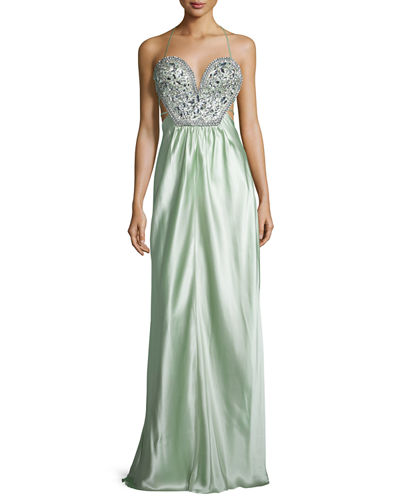 Sleeveless Embellished-Bodice Gown, Blush