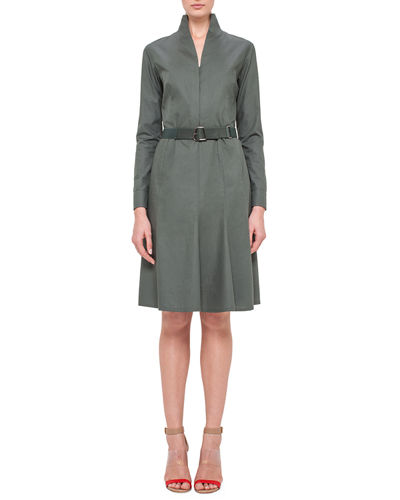Akris Long-Sleeve Mock-Neck A-Line Shirtdress