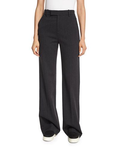 Wide-Leg Wool/Cotton Trousers, Heather Charcoal