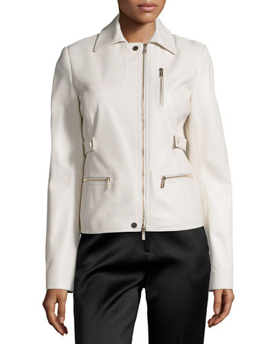 Jason Wu Zip-Pocket Lamb Leather Field Jacket