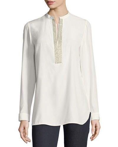 Dunham Silk Blouse w/ Chain Detail