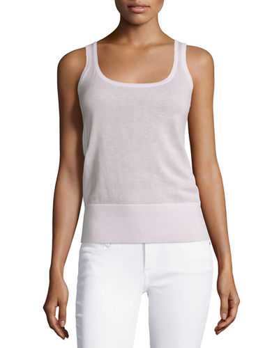 Scoop-Neck Slim-Fit Cashmere Tank, Thistle