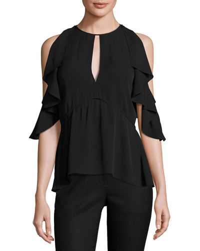 Desiraya Cold-Shoulder Classic Georgette Top