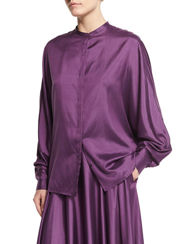 Miyat Jewel-Neck Button-Front Shirt, Grape