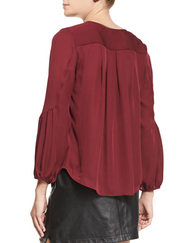 Ezbeth Silk Georgette Peasant Top