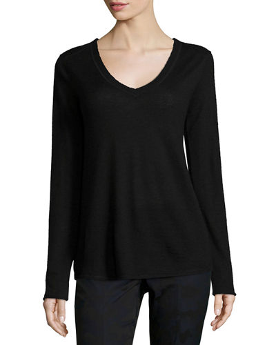V-Neck Raw-Edge Cashmere Tee