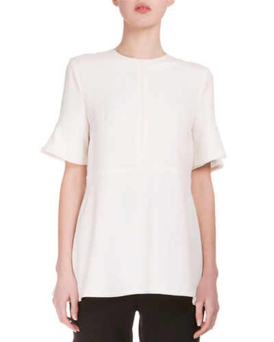 Flutter-Sleeve Jewel-Neck Blouse, Off White
