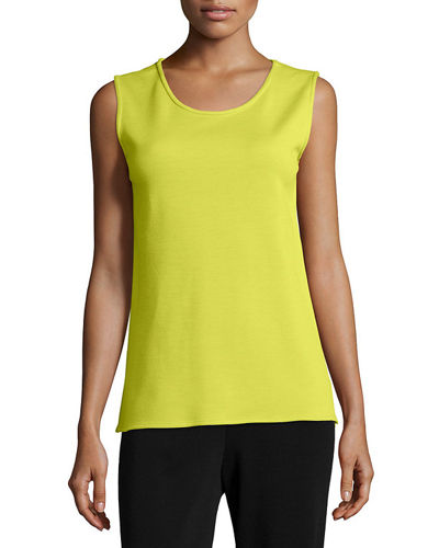 Sleeveless Wool Long Tank, Plus Size