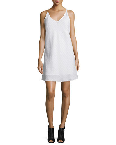 Mitered-Stripe V-Neck Shift Dress, White