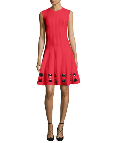 Sleeveless Twist-Knot Cutout-Trim Dress