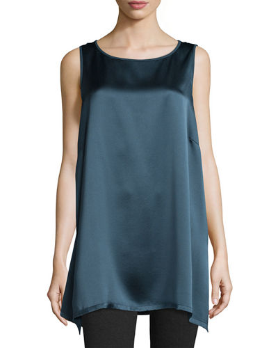 Eileen Fisher Silk Satin-Back Crepe Sleeveless Tunic