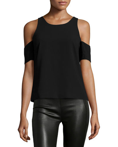 Emmett Crepe Cold-Shoulder Top