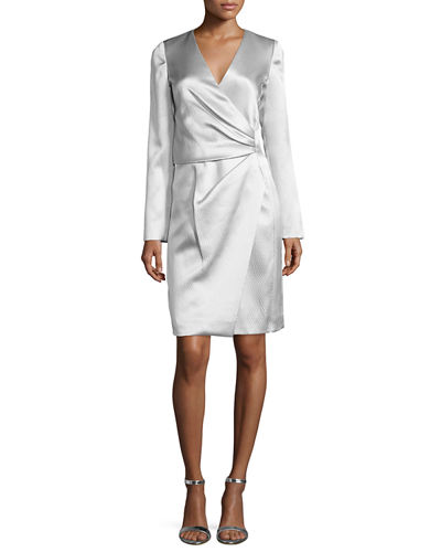 J. Mendel Silk Long-Sleeve Deep-V Wrap Dress