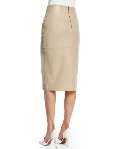 Leather Split-Front Pencil Skirt