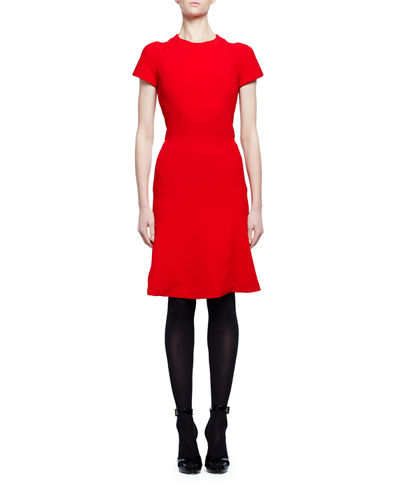 Short-Sleeve Crewneck Flare-Hem Dress
