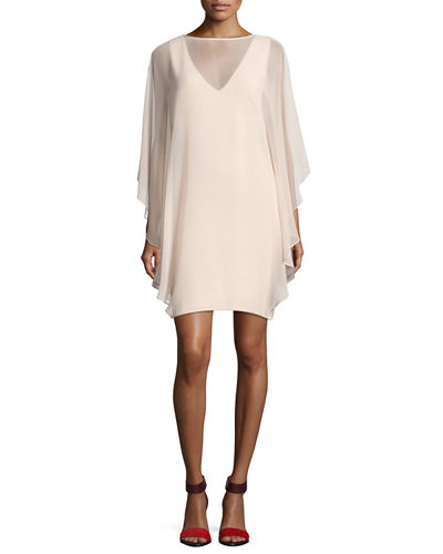 Chiffon-Overlay Shift Dress