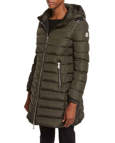 Moncler Orophin Long Puffer Coat w/Leather Trim
