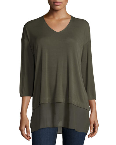 Eileen Fisher Half-Sleeve Silk Jersey Blouse