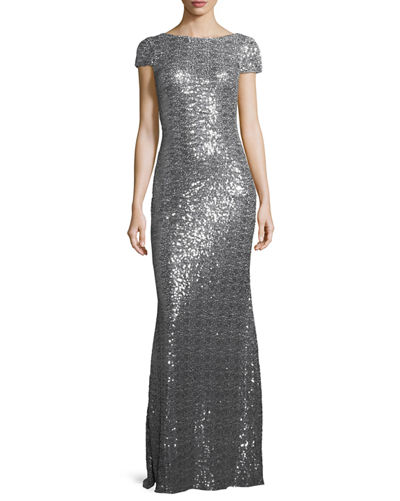 Cap-Sleeve Cowl-Back Sequined Gown