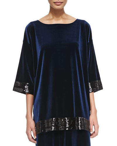 Velour Sequin-Trimmed Tunic, Navy