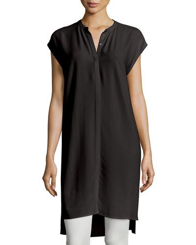 Eileen Fisher Cap-Sleeve Georgette Layering Dress