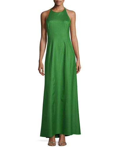 Halter-Neck Sleeveless Silk Gown