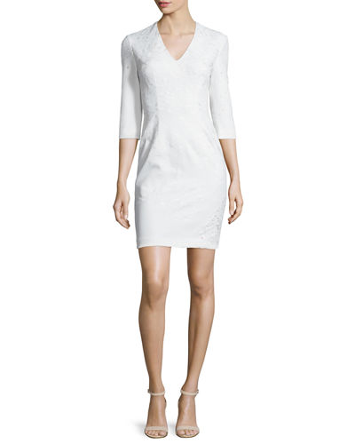 3/4-Sleeve Embroidered Ponte Sheath Dress