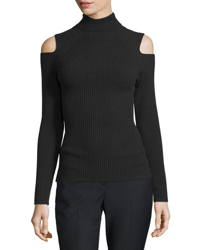 Jemliss Ribbed Cold-Shoulder Sweater