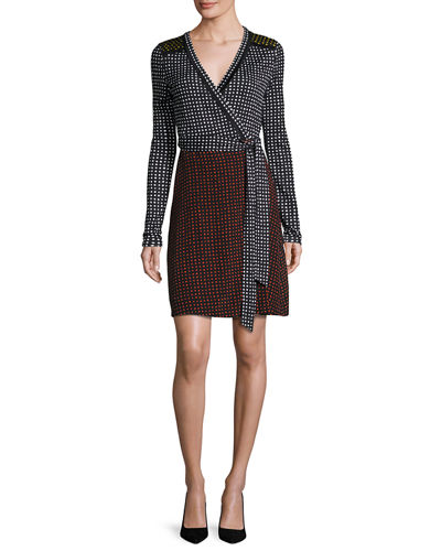 Diane von Furstenberg Mixed Dot-Print Jersey Wrap Dress