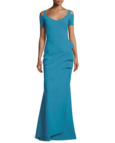 Custom Collection: Julia Cold-Shoulder Ruched Gown