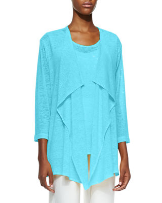 Gauze Knit Draped Jacket