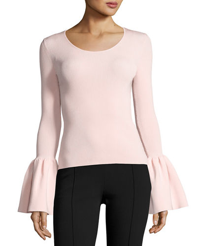 Willow Ribbed Bell-Sleeve Top