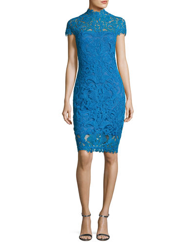 Short-Sleeve Lace Illusion Cocktail Dress, Blue Topaz