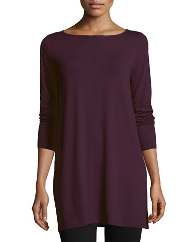 Bateau-Neck Easy Jersey Tunic w/ Side Slits